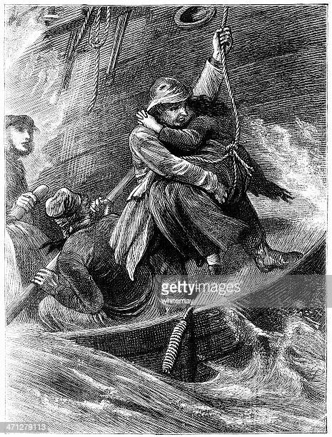 Lowering a woman from shipwreck to lifeboat (Victorian illustration)