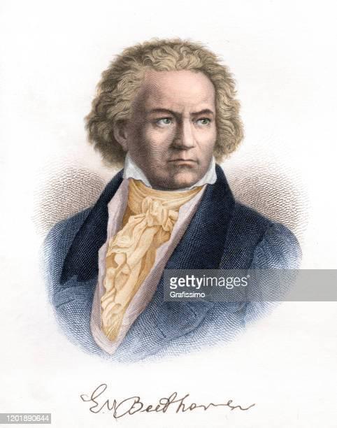 ilustraciones, imágenes clip art, dibujos animados e iconos de stock de ilustración de retrato del compositor ludwig van beethoven - ludwig van beethoven