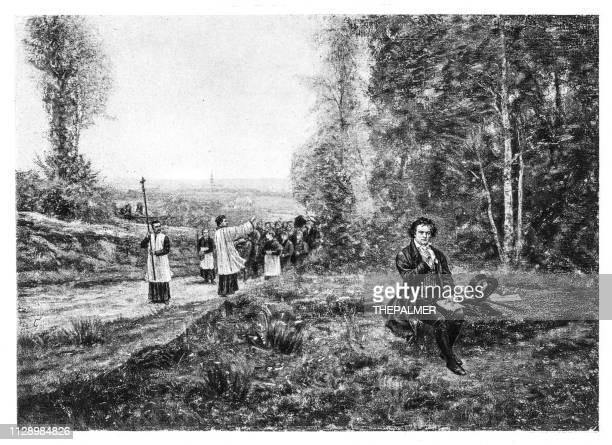 ilustraciones, imágenes clip art, dibujos animados e iconos de stock de ludwig van beethoven grabado 1894 - ludwig van beethoven