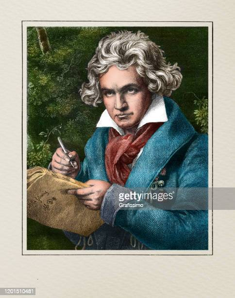 ludwig van beethoven german composer and pianist illustration - musician stock illustrations