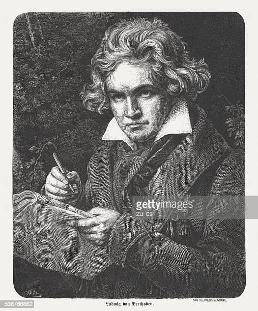 ilustraciones, imágenes clip art, dibujos animados e iconos de stock de ludwig van beethoven (1770-1827), alemán compositor y pianista, publicado 1869 - ludwig van beethoven