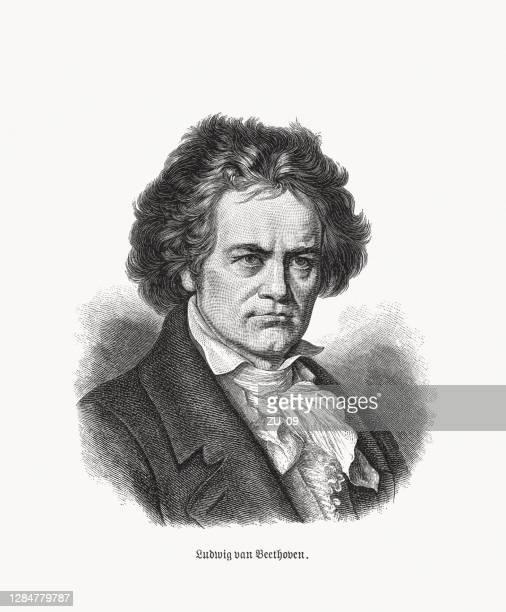 ludwig van beethoven (1770-1827), german composer, wood engraving, published 1893 - ludwig van beethoven stock illustrations