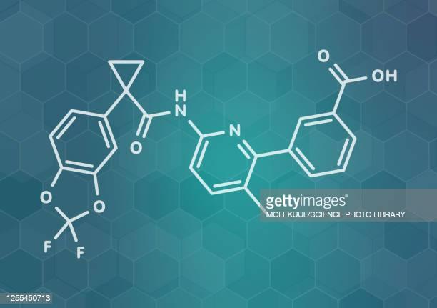 lumacaftor cystic fibrosis drug molecule, illustration - chemistry stock illustrations
