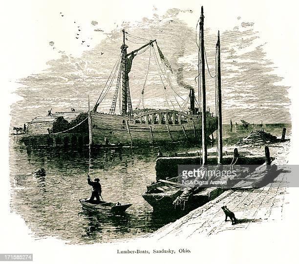 lumber boats, sandusky, ohio | historic american illustrations - lake erie stock illustrations, clip art, cartoons, & icons