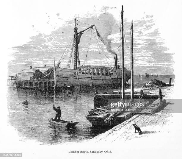 lumber boats, sandusky, ohio, united states, american victorian engraving, 1872 - lake erie stock illustrations, clip art, cartoons, & icons