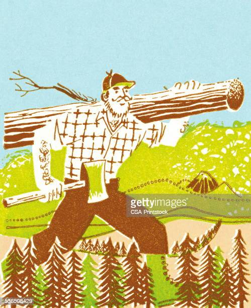 lumberjack - hatchet stock illustrations, clip art, cartoons, & icons