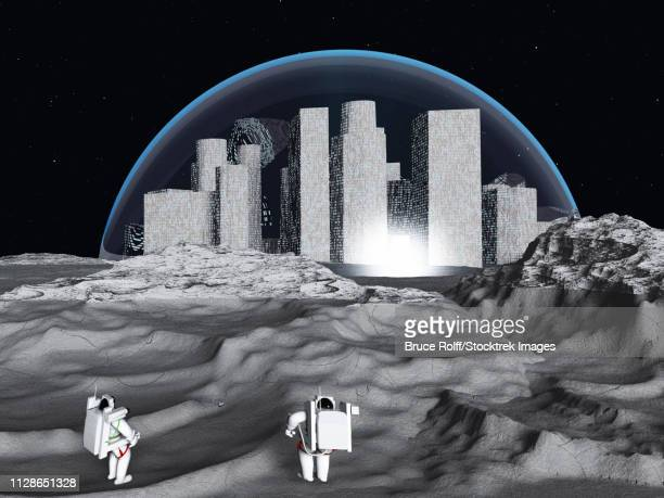 Lunar city and astronauts