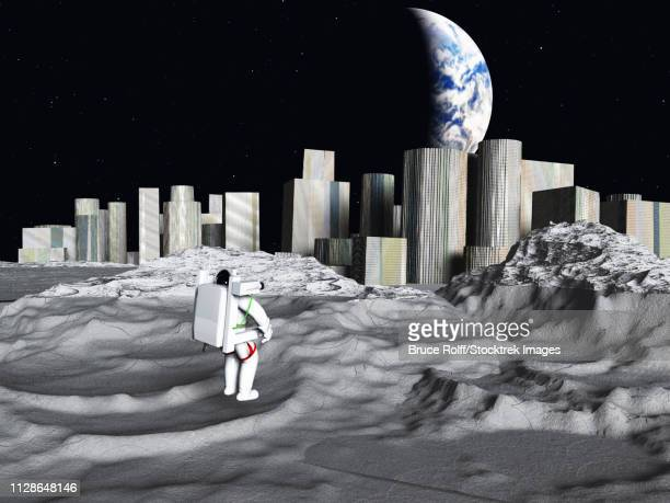 Lunar city. Earth rise seen from the moon.
