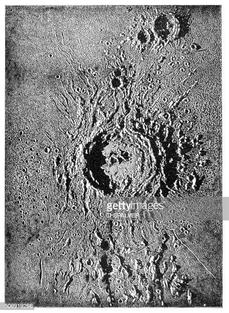 lunar crater engraving 1897 - volcanic crater stock illustrations, clip art, cartoons, & icons