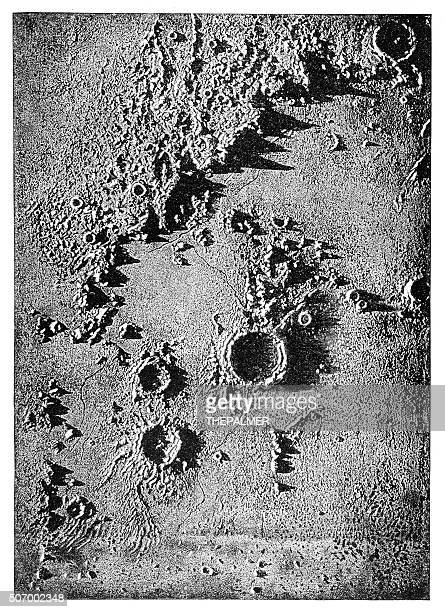 Lunar crater engraving 1897