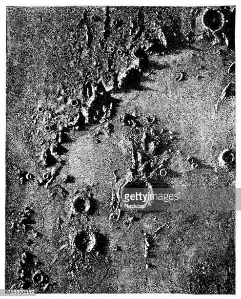 lunar crater - star chart stock illustrations
