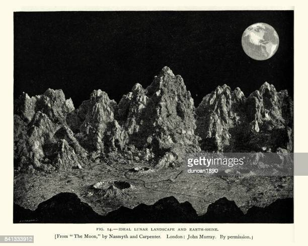Lunar landscape and earth rise, 19th Century