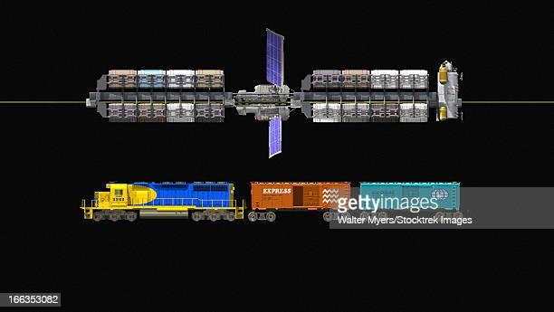 Lunar space elevator compared to a locomotive.
