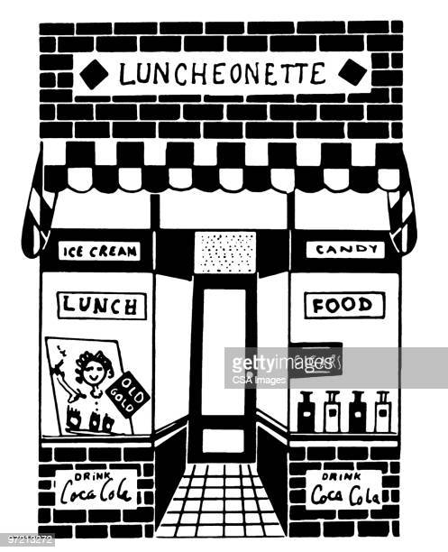 luncheonette - facade stock illustrations