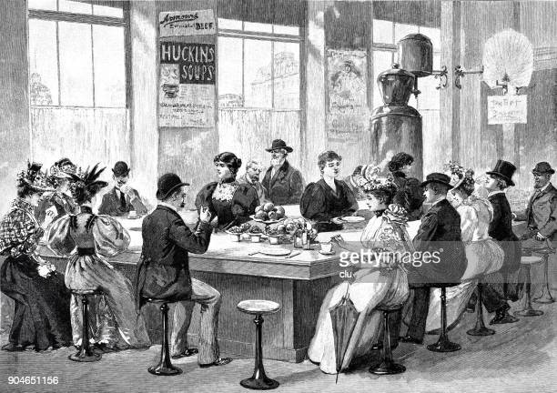lunchroom in chicago: people sitting at the bar eating and drinking - archival stock illustrations, clip art, cartoons, & icons
