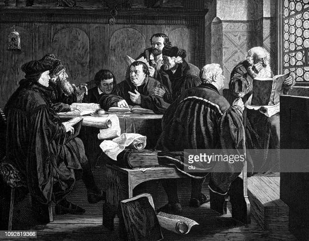 luther explains the bible to friends - protestantism stock illustrations