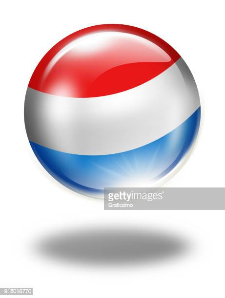 Luxembourg button with flag isolated on white