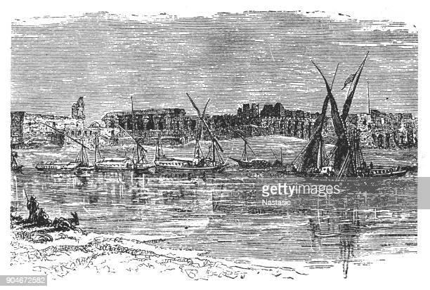 luxor, egypt - nile river stock illustrations, clip art, cartoons, & icons