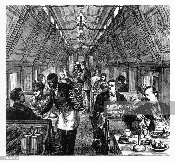 Luxurious Early American Railway Pullman Dining Car, 1877