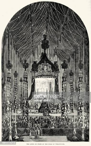 stockillustraties, clipart, cartoons en iconen met lying in state of the duke of wellington - duke
