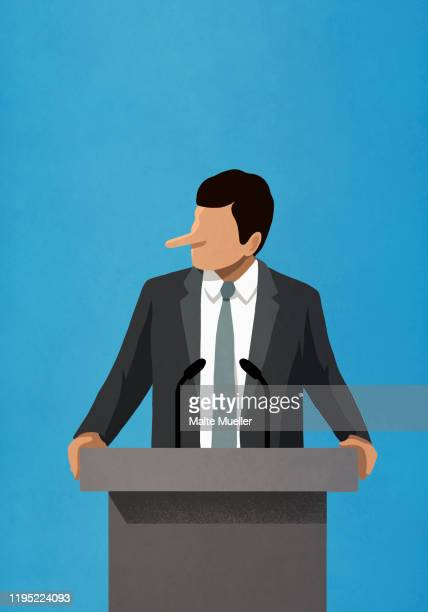 lying politician with long nose speaking at podium - presidential debate stock illustrations