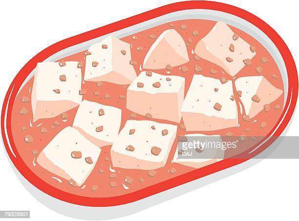 mabo tofu, close-up, illustration - minced stock illustrations, clip art, cartoons, & icons