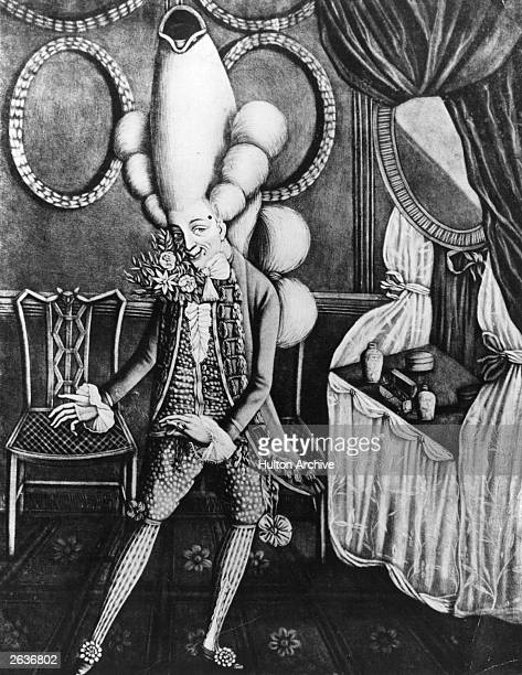 A Macaroni ready for the pantheon a social caricature of the 18th century