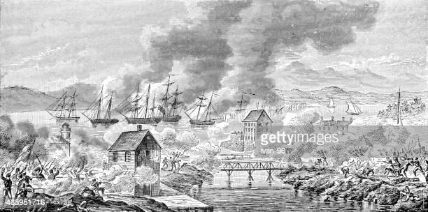ilustraciones, imágenes clip art, dibujos animados e iconos de stock de macdonough en el lago champlain - american revolution