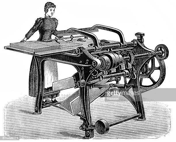 machine folding paper - drawing art product stock illustrations
