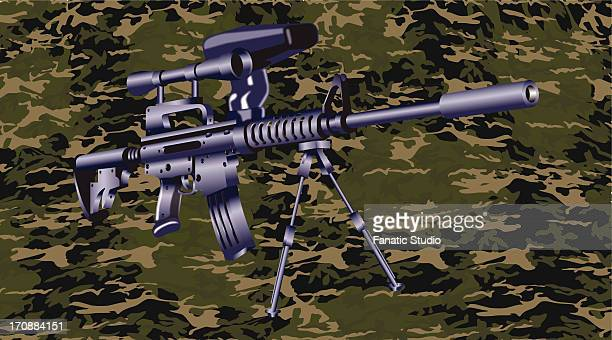 machine gun on a camouflaged background - sniper stock illustrations, clip art, cartoons, & icons