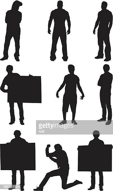 macho guys and men holding signs - hooded top stock illustrations