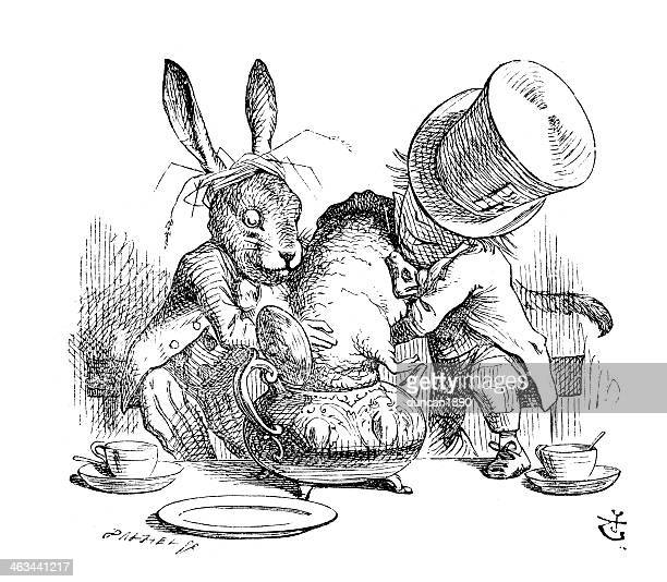 mad hatter und der marsch hare - john tenniel stock-grafiken, -clipart, -cartoons und -symbole