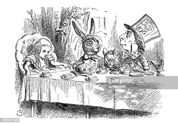 mad hatters tea party - mental illness stock illustrations