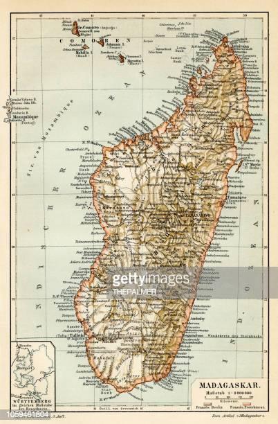 madagascar ceylon map 1895 - mozambique stock illustrations, clip art, cartoons, & icons