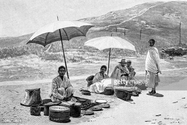 Madagascar street sellers illustration 1895 'the Earth and her People'
