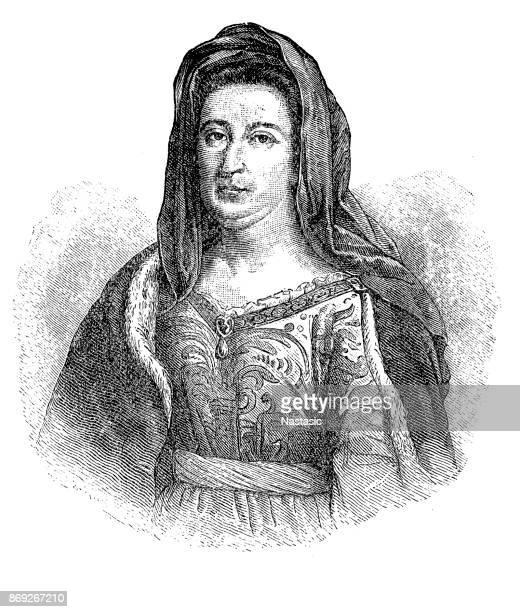 madame de maintenon - louis xiv of france stock illustrations, clip art, cartoons, & icons