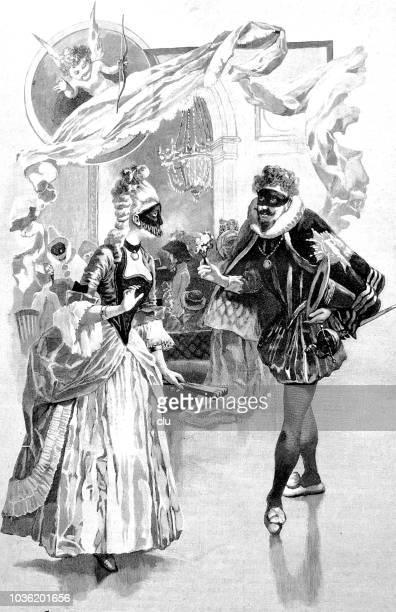 ilustrações, clipart, desenhos animados e ícones de madame de pompadour durante uma festa de carnaval - cartoon characters with curly hair