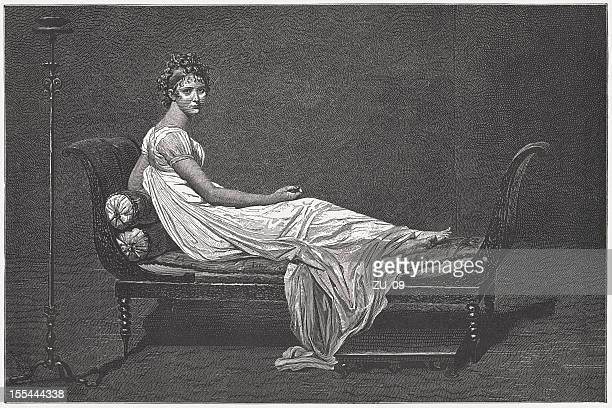 Madame Récamier, by Jacques-Louis David, wood engraving, published in 1882