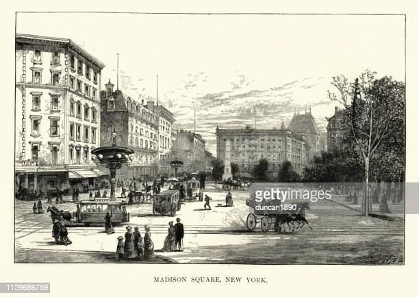 マディソン スクエア、ニューヨーク、アメリカ、19 世紀 - 19世紀風点のイラスト素材/クリップアート素材/マンガ素材/アイコン素材