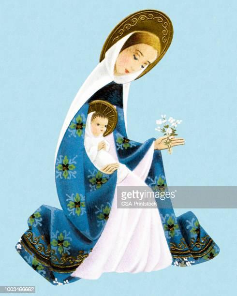 illustrations, cliparts, dessins animés et icônes de madonna et enfant - la vierge marie