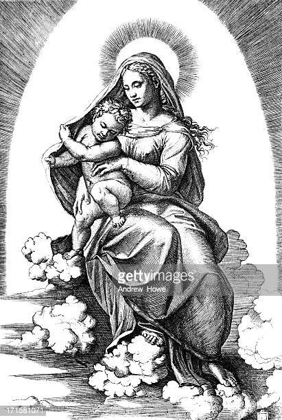 madonna by raphael - virgin mary stock illustrations