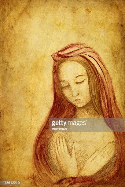 madonna - virgin mary stock illustrations, clip art, cartoons, & icons