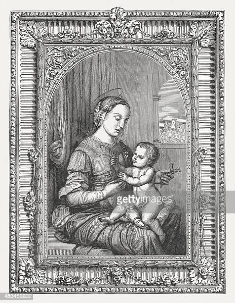 madonna of the pinks by raffael (italien painter), published 1878 - italien stock illustrations