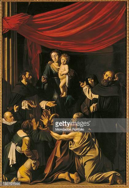 Austria, Wien, Kunsthistorisches Museum, inv. 147. Whole artwork view. Virgin Mary rosary Jesus child aureoles halos drapery velvet red men monks...
