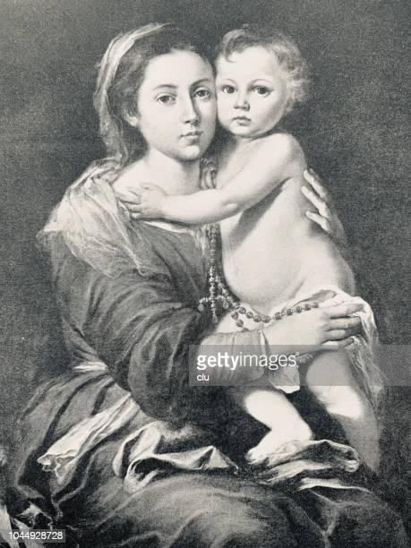 illustrazioni stock, clip art, cartoni animati e icone di tendenza di madonna with the rosary - madonna del rosario
