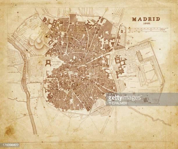 ilustraciones, imágenes clip art, dibujos animados e iconos de stock de madrid mapa 1844 - plano descripción física