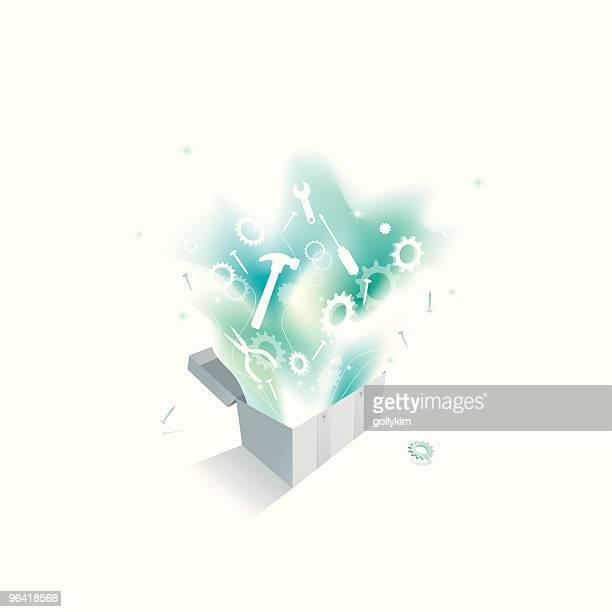 ilustraciones, imágenes clip art, dibujos animados e iconos de stock de mágico caja de herramientas - caja de herramientas