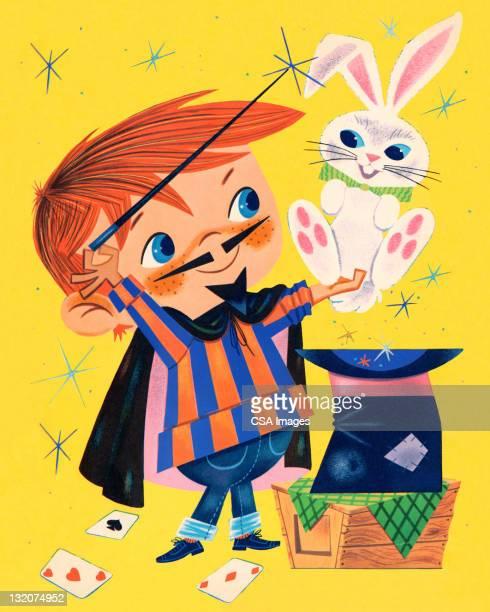 magician and rabbit - magical equipment stock illustrations, clip art, cartoons, & icons