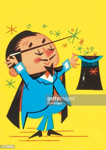magician - magician stock illustrations, clip art, cartoons, & icons