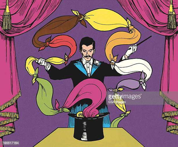 magician pulling scarves out of a hat - magician stock illustrations, clip art, cartoons, & icons